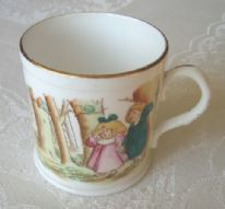 "Foley China (Wileman & Co.) ""The Babes in the Wood"" antique nursery ware mug"